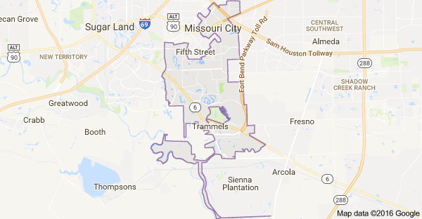Map of Missouri City TX